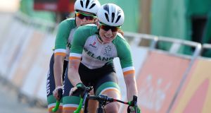 Katie-George Dunlevy and  Eve McCrystal: they covered the 31.2km time-trial course in 41 minutes 2.51 seconds. Photograph:   Jean-Baptiste Benavent/Sportsfile
