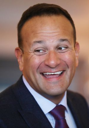 PARTY MOOD: Taoiseach Leo Varadkar is seen during the Fine Gael parliamentary meeting at the Garryvoe Hotel in Co Cork. Photograph: Niall Carson/PA Wire