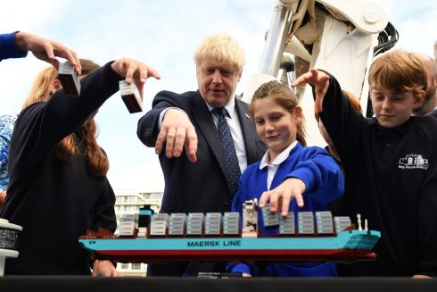 THINKING SHIP: Britain's PM Boris Johnson takes part in an activity as he visits the NLV Pharos, which is moored on the river Thames in London. Photograph: Daniel Leal-Olivas/AFP/Getty Images