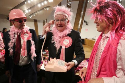 PINK IN: Members of the Scottish parliament wear pink at a fundraiser for a breast cancer organisation at the parliament in Edinburgh. Photograph: Andrew Milligan/PA Wire