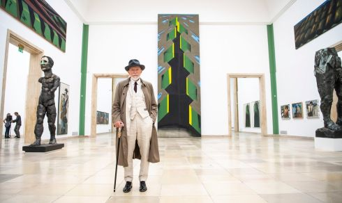 PORTRAIT OF THE ARTIST: German artist Markus Luepertz poses during the press preview of an exhibition of his work at the Haus der Kunst in Munich. Photograph: Lukas Barth-Tuttas/EPA