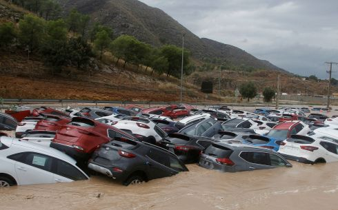 RAIN IN SPAIN: Cars are submerged in water after the strong rain known as the 'Gota Fria' (Cold Drop) hit Orihuela, Alicante, eastern Spain. Photograph: Morell/EPA
