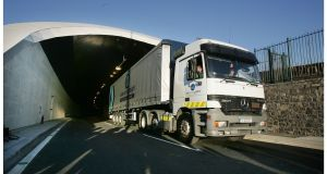 Operation Purge will mean port-bound trucks travelling in through the tunnel are redirected at Dublin Port and sent back out the tunnel's north bore. File photograph: Alan Betson