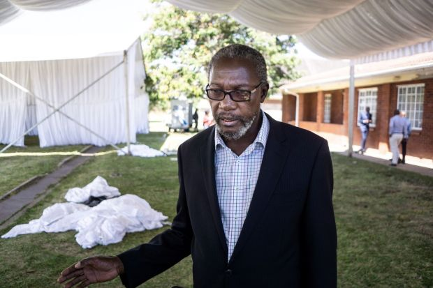 Leo Mugabe, nephew of Robert, answers journalists' question at his family home in Kutama. Photograph: Zinyange Auntony/AFP/Getty