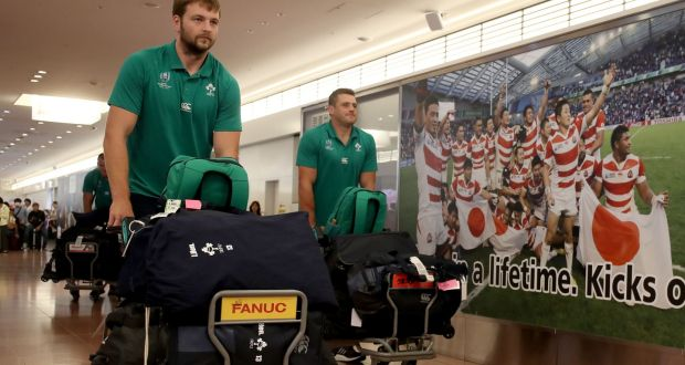 Iain Henderson and CJ Stander arrive at Haneda Airport in Tokyo, Japan, ahead of the Rugby World Cup. Photograph: Dan Sheridan/Inpho