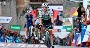 Ireland's Sam Bennett crosses the finish line in second on the 19th stage of the Vuelta a España  from Avila to Toledo. Photograph: Oscar Del Pozo/AFP/Getty Images