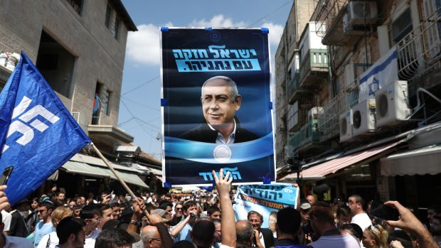 Supporters of prime minister Binyamin Netanyahu's Likud Party at the Mahane Yehuda Market in Jerusalem. The Israeli legislative election will be held on September 17th. Photograph: Abir Sultan