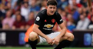 Harry Maguire of Manchester United. Photograph: Will Oliver/EPA