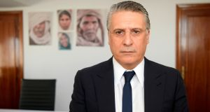 Tunisian presidential candidate Nabil Karoui: arrested on money-laundering charges on August 23rd, but the electoral commission has allowed him to compete in the September 15th poll. Photograph: Fethi Belaid