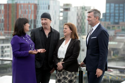 EDGE OF GREATNESS: Anne Heraty, CPL Recruitment, The Edge representing U2, Elaine Coughlan of Atlantic Bridge and Mark Roden, from phone credit company Ding, at the launch of Endeavor Ireland, a global not-for-profit organisation supporting entrepreneurs. Photograph: Alan Betson