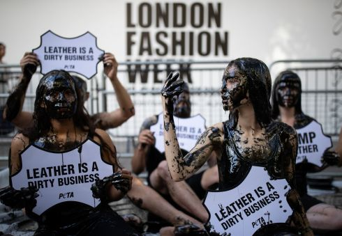 THINK TWICE: Activists from Peta stage a demonstration outside the Spring/Summer2020 London Fashion Week at BFC Show Space, The Strand, London. Photograph: Aaron Chown/PA Wire