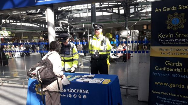 Gardaí manning an information point at Dublin's Heuston Station on Friday as part of Operation Twintrack. Photograph: An Garda Síochána.