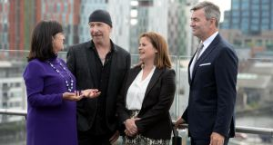 Anne Heraty, the Edge, Elaine Coughlan, and Mark Roden at the launch of Endeavor Ireland. Photograph: Alan Betson/The Irish Times