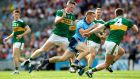 Kerry's Jason Foley and Tom O'Sullivan tackle Con O'Callaghan of Dublin. Photograph: James Crombie/Inpho