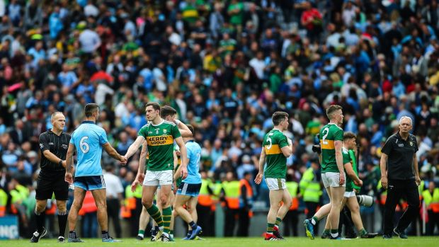 Kerry's David Moran and Dublin's James McCarthy shake hands after their drawn final on September 1st. Photograph: James Crombie/Inpho