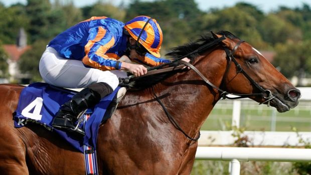 Ryan Moore riding Mogul win the KPMG Champions Juvenile Stakes at Leopardstown. Photograph: Alan Crowhurst/Getty Images