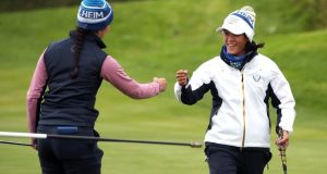 Europe's Celine Boutier (right) celebrates her eagle putt on the 14th with Georgia Hall during the afternoon fourball match on day two of the  Solheim Cup at Gleneagles Golf Club in  Auchterarder, Scotland. Photograph:  Jane Barlow/PA Wire