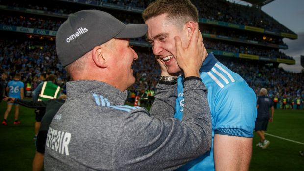 Dublin manager Jim Gavin celebrates with Brian Fenton. Photograph: Oisín Keniry/Inpho