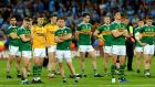 The Kerry team dejected after the game. Photograph: James Crombie/Inpho