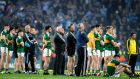 The Kerry players watch Dublin collect the Sam Maguire at Croke Park. Photograph: Billy Stickland/Inpho