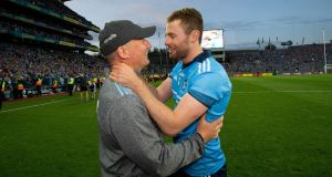 Dublin manager Jim Gavin celebrates the victory over Kerry  with Jack McCaffrey. Photograph: Tom Honan
