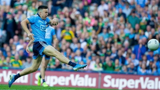 Dublin's Eoin Murchan scores a goal just after half-time in the All-Ireland final replay against Kerry. Photograph: Tom Honan