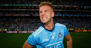 Dublin's Jonny Cooper shows his emotion at the final whistle of the All-Ireland final replay. Photograph: Oisín Keniry/Inpho