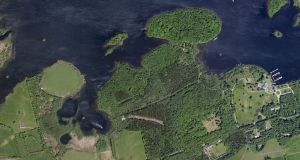 Aerial view of Lough Key Forest Park in Co Roscommon.