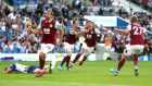 Jeff Hendrick of Burnley celebrates after scoring a late equaliser against Brighton & Hove Albion. Photograph: Dan Istitene/Getty