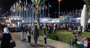 Syrians visit the pavilions at the Damascus International Fair in Damascus. Photograph: Youssef Badawi/EPA