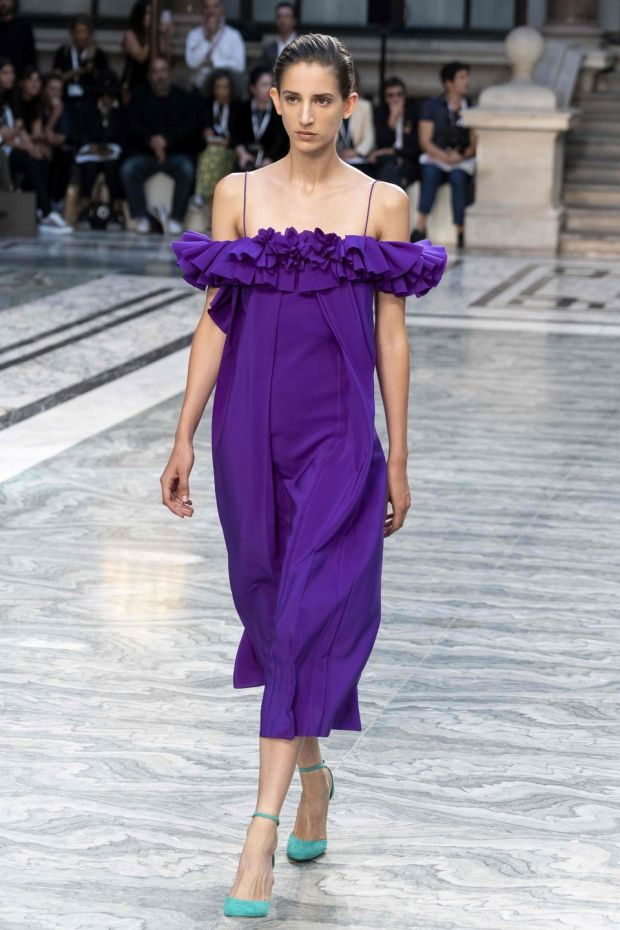 A model presents a creation from designer Victoria Beckham during the catwalk show. Photograph: Niklas Halle'n/AFP/Getty
