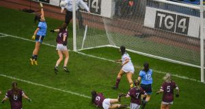 Hannah O'Neill scores Dublin's  second goal during the TG4 All-Ireland Ladies Football Senior Championship Final against Galway at Croke Park. Photograph:  Ramsey Cardy/Sportsfile