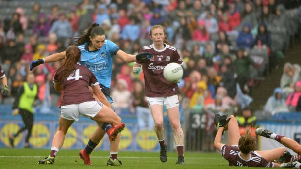 Sinéad Goldrick scores Dublin's first goal against Galway in the TG4 All-Ireland Ladies Football Senior Championship Final at Croke Park. Photograph: Dara Mac Dónaill