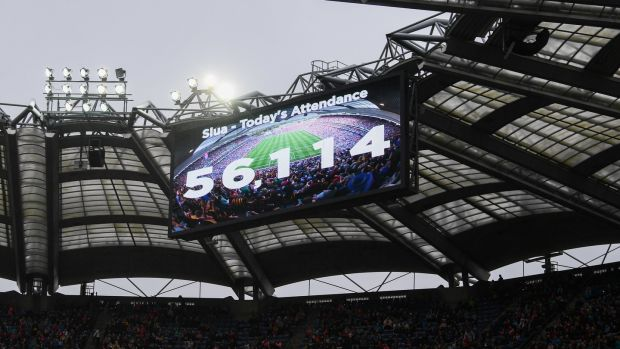 A view of the big screen as the attendance of 56,114, a new record, is shown during the TG4 All-Ireland Ladies Football Senior Championship Final at Croke Park. Photograph: Stephen McCarthy/Sportsfile