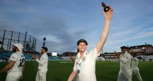 Steve Smith of Australia celebrate with the Urn after Australian drew the series to retain the Ashes during day four of the fifth Test against  England  at The Oval in London. Photograph: Ryan Pierse/Getty Images