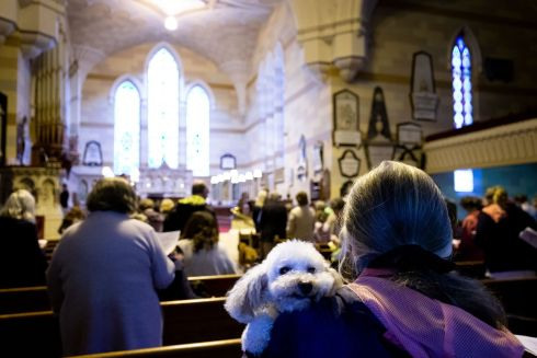 ME NEXT! Marie Byrne with her dog Luna at a community service of celebration and blessing for pets in Monkstown Church, Co Dublin. Photograph: Tom Honan
