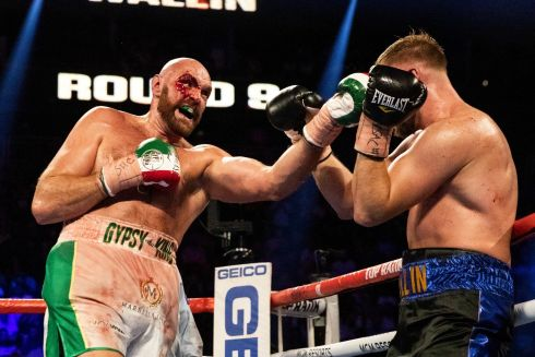 FIRE AND THE FURY: Tyson Fury during his victory on points over Otto Wallin (right) in the lineal heavyweight championship and ceremonial WBC Mayan belt fight at the T-Mobile Arena in Las Vegas, Nevada. Photograph: Etienne Laurent/EPA