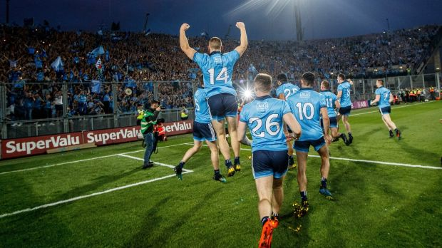The Dublin team celebrate in front of Hill 16 in Croke Park after beating Kerry in the All-Ireland senior football final replay. Photograph: Dara Mac Dónaill/The Irish Times