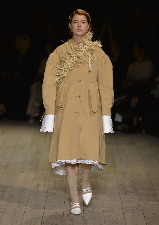 Jessie Buckley modelling in the Simone Rocha spring-summer 2020 show at London Fashion Week