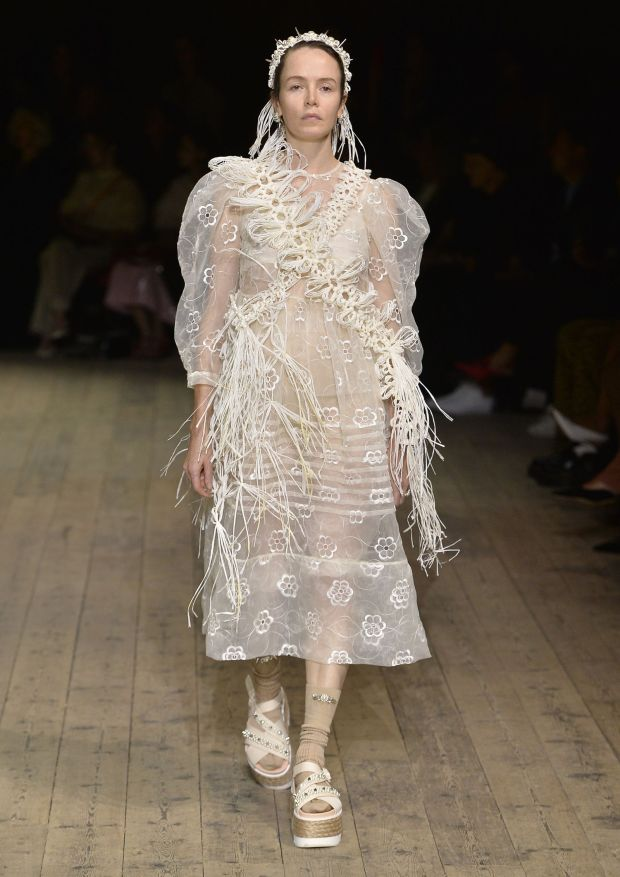 Valene Kane modelling in the Simone Rocha spring-summer 2020 show at London Fashion Week