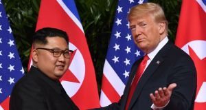 June 12th, 2018: US president Donald Trump (right) meets with North Korea's leader Kim Jong-un  in Singapore. Photograph: Saul Loeb/AFP/Getty Images
