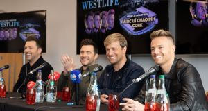 Markus Feehily, Shane Filan, Kian Egan and Nicky Byrne from Westlife at the announcement of their upcoming show in Páirc Uí Chaoimh, Cork in August 2020. Photograph: Darragh Kane