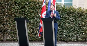 Luxembourg's  prime minister Xavier Bettel speaks to the press after a meeting with British prime minister Boris Johnson in Luxembourg. Photograph: Julien Warnand/ EPA
