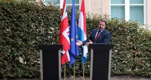 Luxembourg's prime minister Xavier Bettel gestures during a news conference after his meeting with British prime minister Boris Johnson in Luxembourg. Photograph: Yves Herman/Reuters