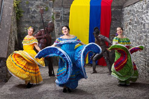 HISTORICAL DRESS: Latin American performers Cristina Castro, Angela Coral Medina and Ingrid Sanchez dancing at Elizabeth Fort in Cork city in advance of the Colombian ambassador's arrival this Saturday to celebrate the anniversary of Colombia's independence, and the role of Cork-born South American hero Daniel Florence O'Leary. Photograph: Michael O'Sullivan/OSM Photo