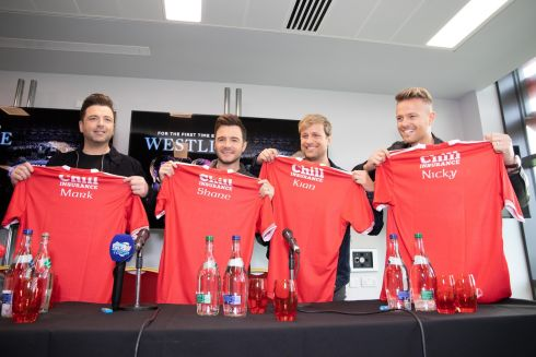 THE BOYS ARE MEN: Markus Feehily, Shane Filan, Kian Egan and Nicky Byrne of Westlife at the announcement of their upcoming show at Páirc Uí Chaoimh, Cork, on Friday, August 28th, 2020. Tickets go on sale this Friday. Photograph: Darragh Kane