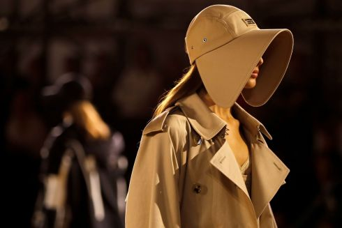 HATS OFF: Models present creations during a catwalk show for the Burberry Spring/Summer 2020 collection on the fourth day of London Fashion Week. Photograph: Tolga Akmen/AFP/Getty