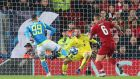 Alisson Becker of Liverpool makes a save from Arkadiusz Milik of SSC Napoli during their Champions League Group C match at Anfield on December 11th, 2018. Photograph: Alex Livesey/Danehouse/Getty Images)