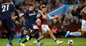 Declan Rice challenges Jack Grealish during West Ham's draw at Aston Villa. Photograph: Martin Rickett/PA