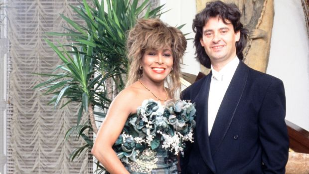 Tina Turner with Erwin Bach on her 50th birthday in November 1989, n London. Photograph: Dave Hogan/Hulton Archive/Getty Images